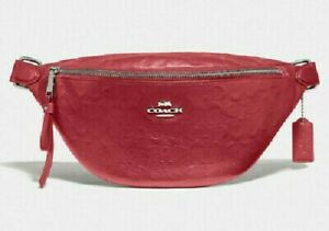 NWT-Coach-F48741-Signature-Belt-Bag-Fanny-Pack-Wash-Red-Calf-Leather-328