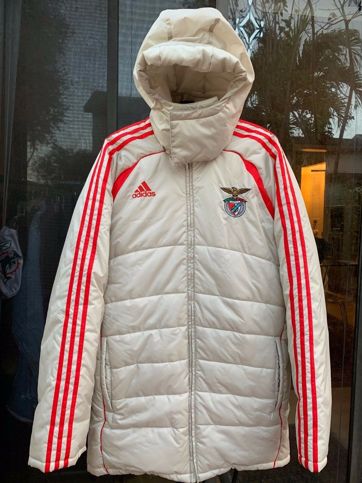 ADIDAS S.L. BENFICA PUFFER HOODED SKI SNOWBOARDING COAT SZ L