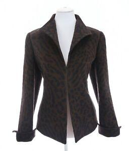 Carlisle-Sz-8-Angora-Wool-Leopard-Print-Fleece-Jacket-Blazer-Brown-Womens