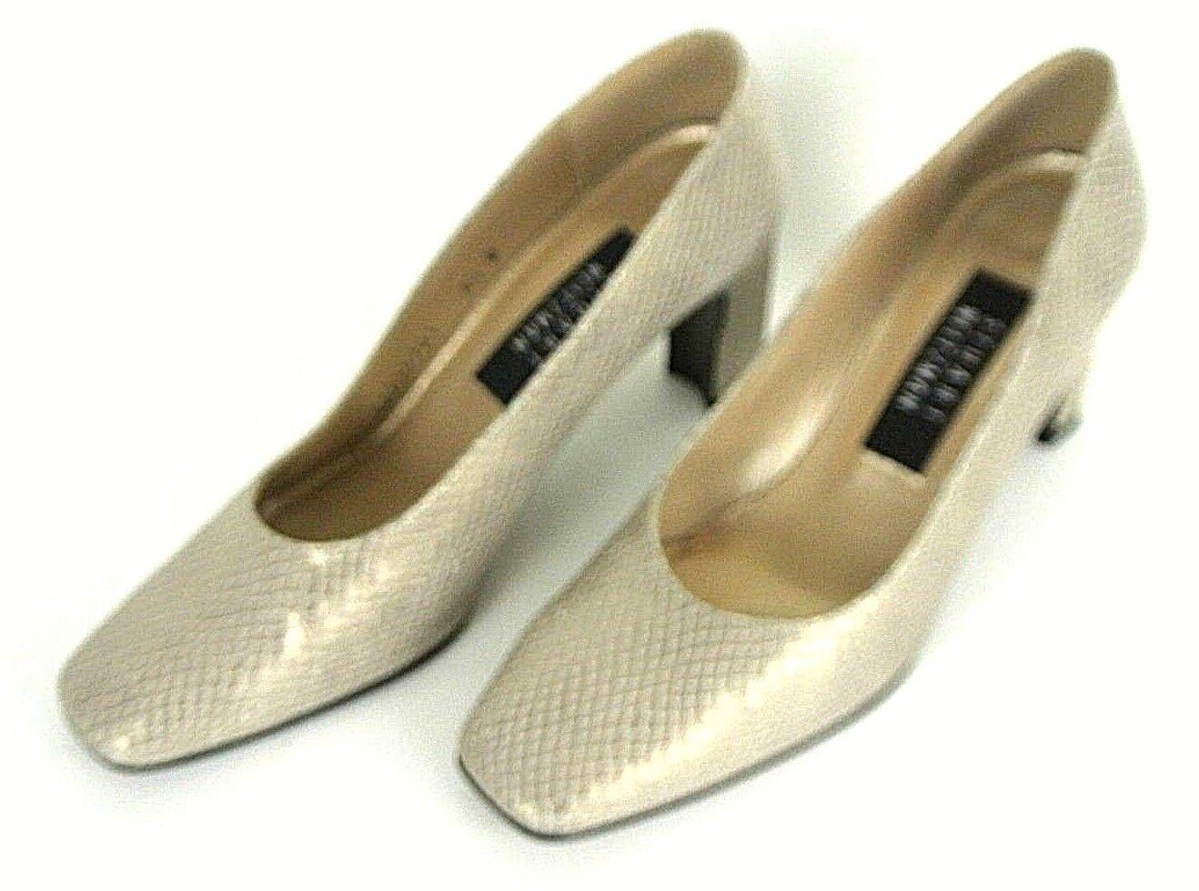 Stuart Weitzman Pumps Damenschuhe Schuhes Chunky Metallic Gold Leder Chunky Schuhes Heel 6.5 1008 6aedef