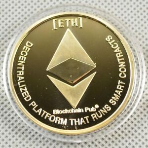 Gold Plated Physical Coin Commemorative Coin Collectible ETH Ethereum Miner Coin