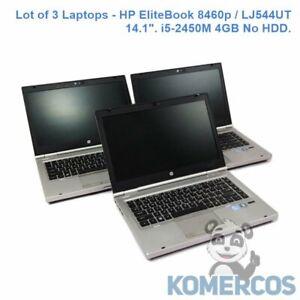 "Lot of 3 Laptops - HP EliteBook 8460p / LJ544UT 14.1"". i5-2450M 4GB No HDD ""C"""