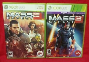 Mass Effect 2 + 3 -  Games XBOX 360 - Game Lot -  Tested and Working Complete