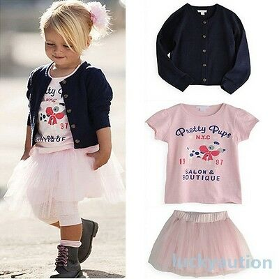 Girls T-shirt+Coat+Tulle Skirt Outfits 3 Pieces Set Baby Clothes TuTu Dress 0-5Y
