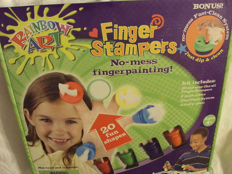 Rainbow Art No Mess Fingerpainting Finger Stampers NEW