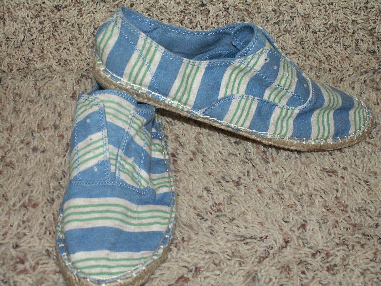 SPLENDID BLUE & GREEN STRIPE SLIP ON FLATS WOMENS SHOES SIZE 5.5 NEW NWOB
