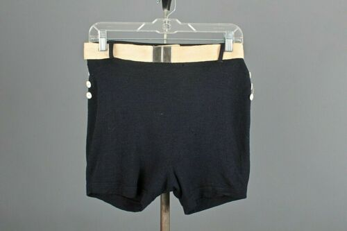 VTG Women's 30s Navy Blue Wool Bathing Shorts Sz