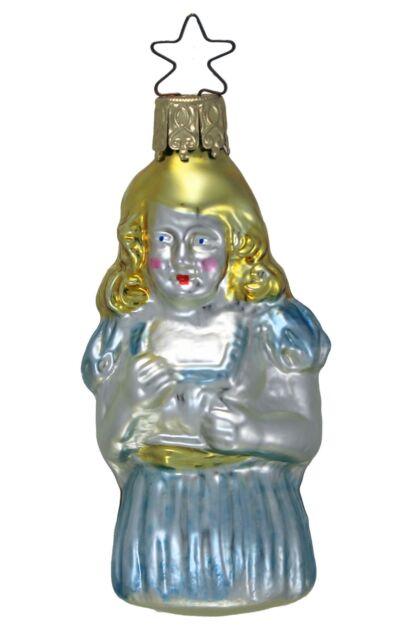 Inge Glas OWC 1042227 Girl in Blue  Dress German Glass Christmas Ornament