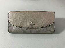 Coach F38713 Slim Envelope Wallet Signature Canvas Platinum PVC New $275