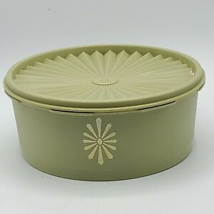 TUPPERWARE-Vintage-Retro-OLIVE-GREEN-Canister-1204-with-Servaler-Lid-Seal