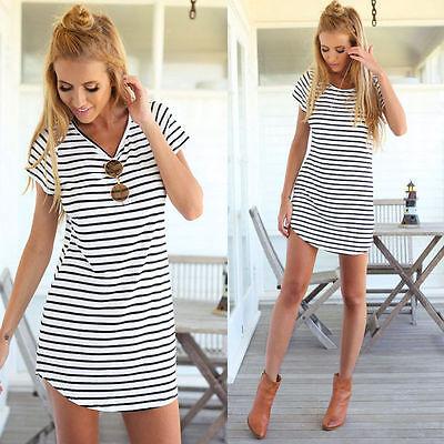 Sexy Women Casual Crew Neck Short Sleeve Striped Loose T-Shirt Mini Beach Dress