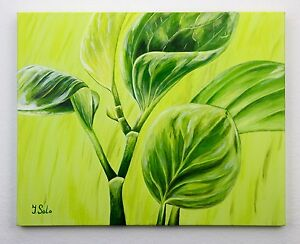 Image Is Loading Green Leaves Still Life Original One Of A