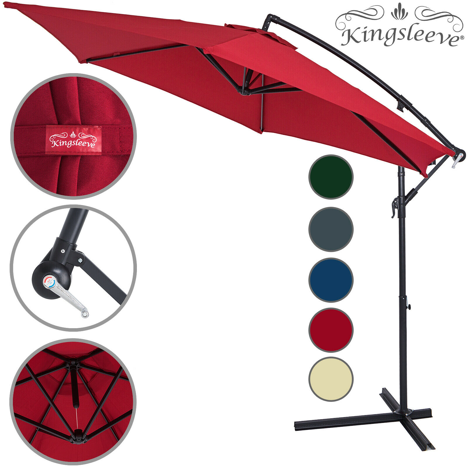 Garden Sun Parasol 3.3m Large Patio Umbrella Hanging Banana Shade Cantilever