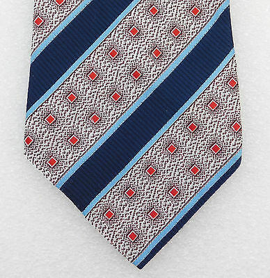 Fashion Tie Vintage kipper 1960s 1970s washable polyester wide striped blue