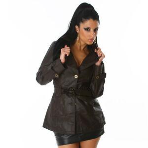 taglia 14 Australia New Brown Leather Coat Sexy Ladies Faux Jacket 16 Glossi Pr0qY4p0F