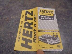 Ancien-Livret-Pocket-Directory-Hertz-Rent-a-Car-1956