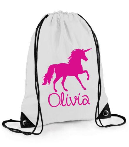 Personalised School Pull String Bag Kids Unicorn Horse Riding Kids PE Kit Gift