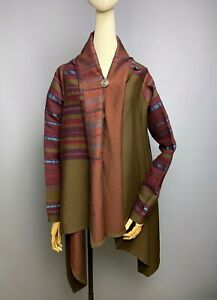 DRIES-VAN-NOTEN-Wool-Silk-Poncho-Large-Cape-Wrap-Size-40-Brooch-Button-Striped
