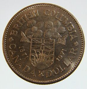 1871 - 1971 Canada 1 dollar coin British Columbia centennial coin