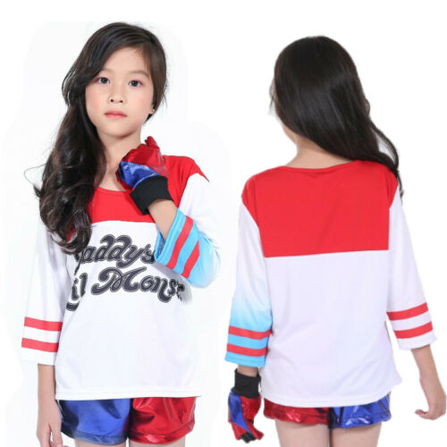 Kids Girls Movie Suicide Squad Harley Quinn Cosplay Costume Jacket T Shirt Short