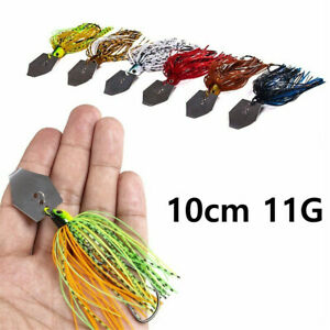 6pcs 4/'/' Chatterbait Blade Bait with Rubber Skirt Buzzbait Fishing Lures Tackle