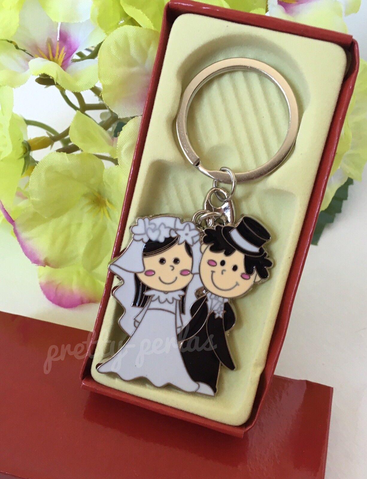 12-mariage faveurs couple fête cadeaux faits Keychains-llaveros Recuerdos de Boda