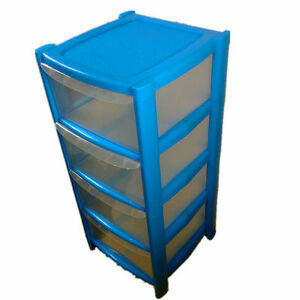 Beautiful Image Is Loading 4 DRAWER BLUE TOWER UNIT PLASTIC STORAGE DRAWERS
