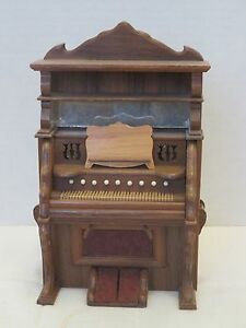 Vintage Dollhouse Miniatures Wooden Upright Piano 70s Handcrafted 7