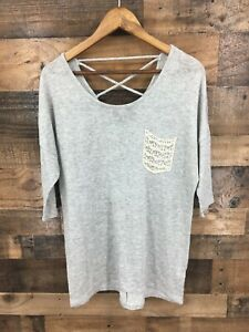 Maurices Women's Grey Criss Cross Back Lace Pocket Casual Top Size L
