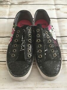 Ed-Hardy-Black-Shiny-Love-Slowly-Koi-Fish-Skulls-Size-6-Girls-Running-Shoes