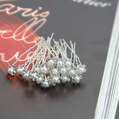 20Pcs Beautiful Wedding Bridal Crystal Rhinestone Pearl Flower Hair Pin Clips