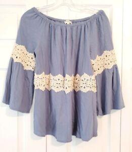 UMGEE-womens-size-M-blue-ivory-crochet-bell-sleeve-off-shoulder-boho-blouse