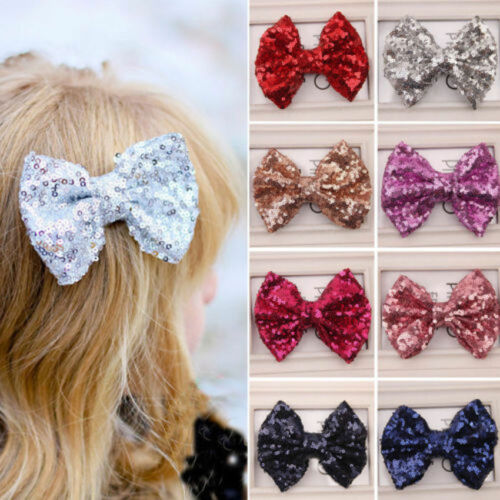 12 Colors Hair Bows Sequin Sparkle On Clip Baby Toddler Girls Baby Bows