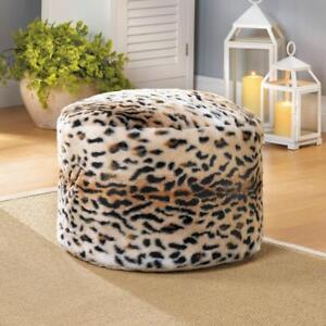 Awesome Details About Leopard Animal Print Fuzzy Ottoman Pouf Foot Stool Leg Rest Seat Bean Bag Seat Dailytribune Chair Design For Home Dailytribuneorg
