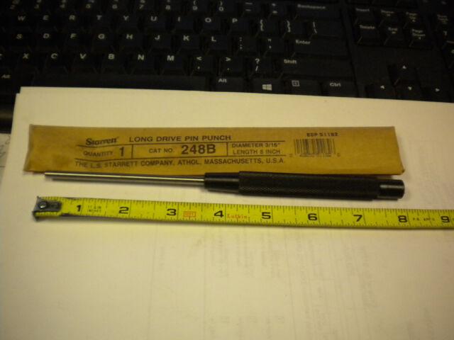 3//8 Pin Diameter 3-1//2 Pin Length Starrett B248E Extended Length Brass Drive Pin Punch 8 Overall Length