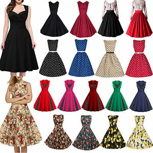 Womens-50s-60s-Vintage-Rockabilly-Pinup-Swing-Floral-Cocktail-Party-Formal-Dress