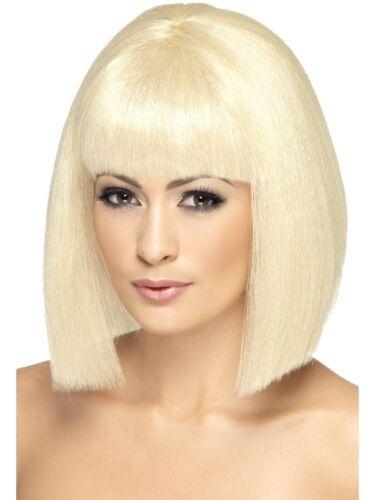 Coquette blonde court dames Bob perruque robe fantaisie perruque franges glamour bobed