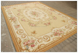 Image Is Loading 9x12 Aubusson Area Rug Yellow Beige Ivory W