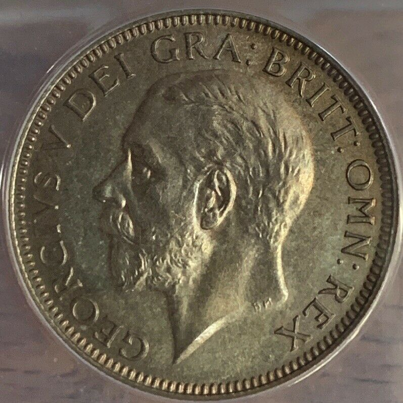 1927 One Shilling Great Britain Proof Coin Toning ANACS PF 64 778