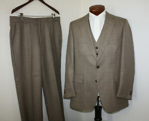 Austin Reed Vintage 70s 3 Pc Suit Tan Vest Flat Front Pants Made Usa 42r 37 31 Ebay