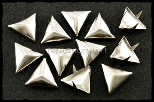 50pcs 14 mm nickel Facette Triangle Rivets tache de taches Sacs Chaussures À faire soi-même emo S047