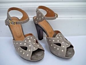 CHIE MIHARA light taupe Pelle dotted dotted Pelle platform sandals heels sz   84448f