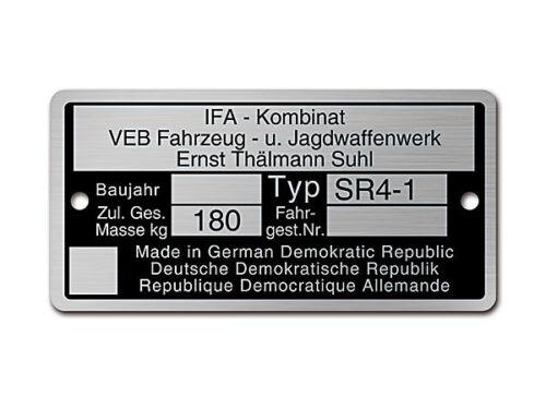 2 Kerbnägel Typenschild Simson SR4-1 Rahmenplakette Aluminium Neu inkl