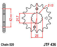 SUZUKI RGV250 K L WOLF VJ21A 1989-90 JTF436-15 JT FRONT SPROCKET 15T NEW 436-15