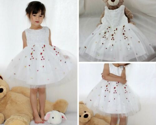 3--7 years old Ivory Wedding Flower Party Birthday kid Tulle Formal dress