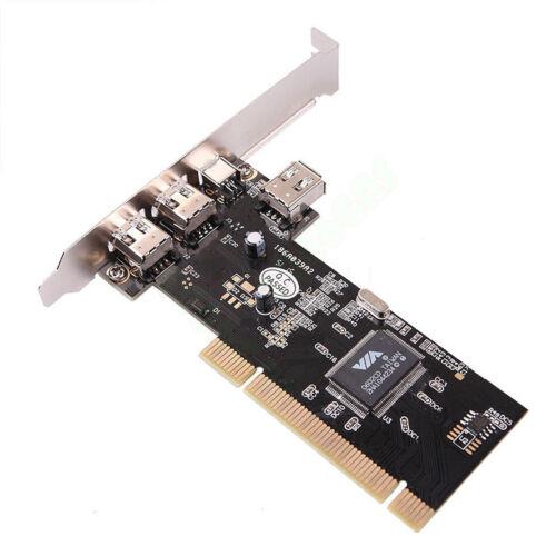 US Premium 4 Port Firewire IEEE 1394 4//6 Pin PCI Controller Card Adapter