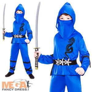 Image is loading Blue-Ninja-Boys-Fancy-Dress-Japanese-Samurai-Warrior-  sc 1 st  eBay & Blue Ninja Boys Fancy Dress Japanese Samurai Warrior Kids Childs ...