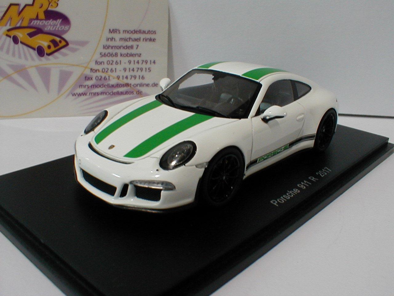 Spark S4956 - Porsche 911 R Baujahr Baujahr Baujahr 2017 in   white-green   1 43 NEU 16b6b5