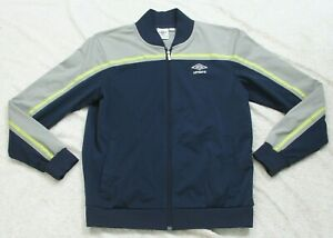 Umbro Blue Gray Athletic Jacket Coat Large Polyester Womans Womens Full Zip S1