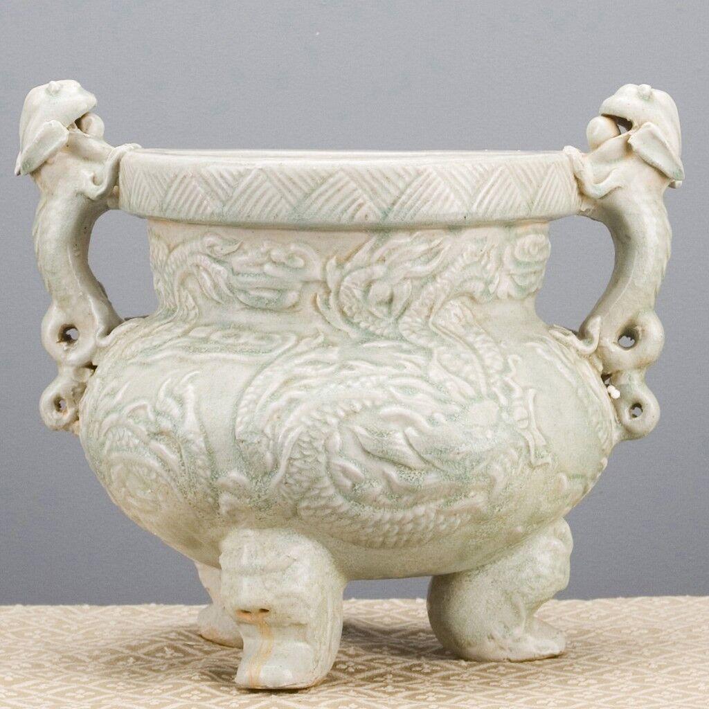 Stunning Celadon Carved Dragon Porcelain Pot Jar,14'' X 12''H